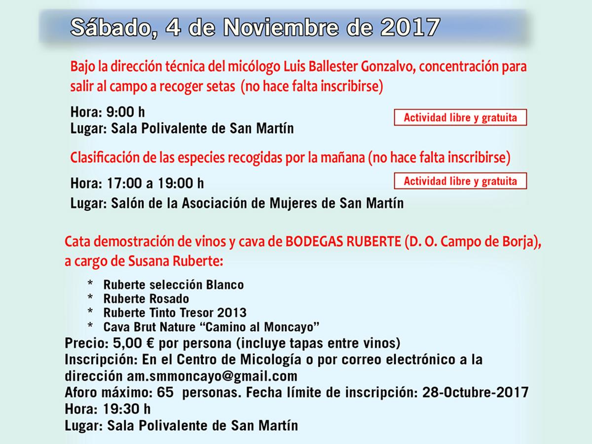 Actividades 4 de noviembre - XIV Jornadas Micológicas Otoño 2017 #MicoMoncayo