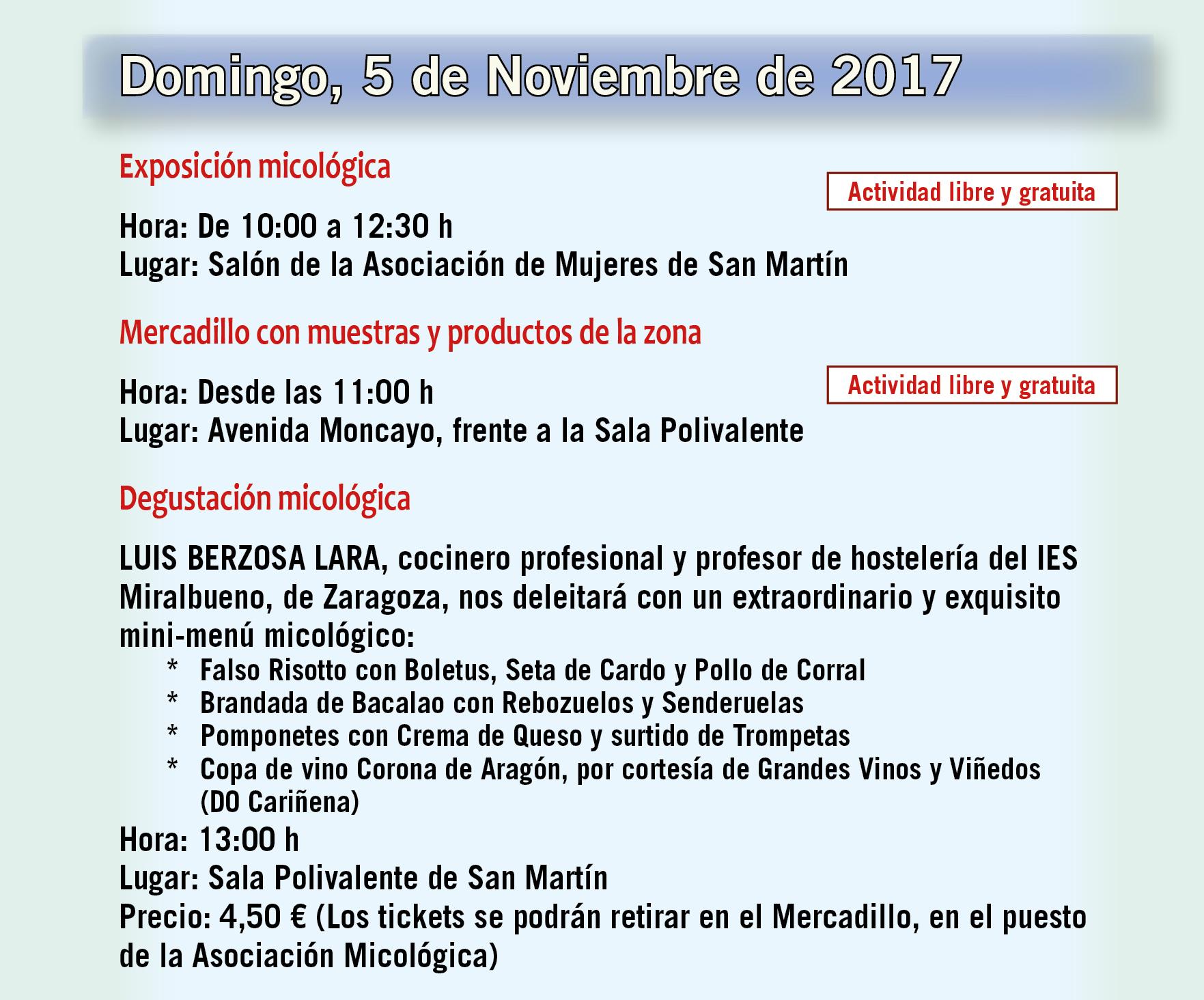 XIV Jornadas Micológicas Otoño 2017 #MicoMoncayo - San Martín de la Virgen de Moncayo - Actividades 5 de noviembre de 2017