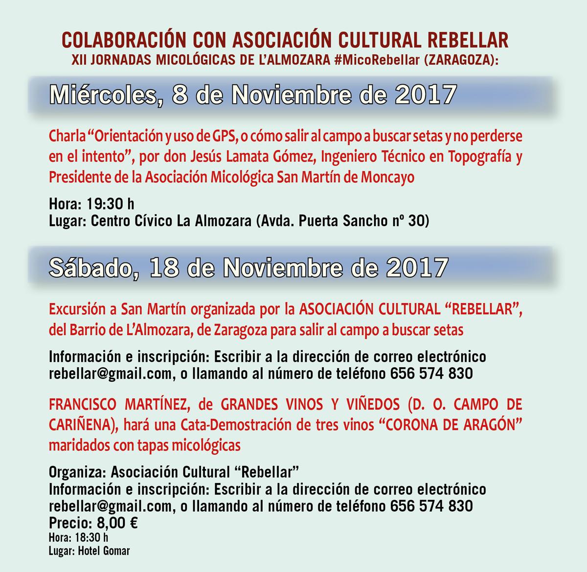XIV Jornadas Micológicas Otoño 2017 #MicoMoncayo - San Martín de la Virgen de Moncayo - Colaboración con Asociación Cultural Rebellar