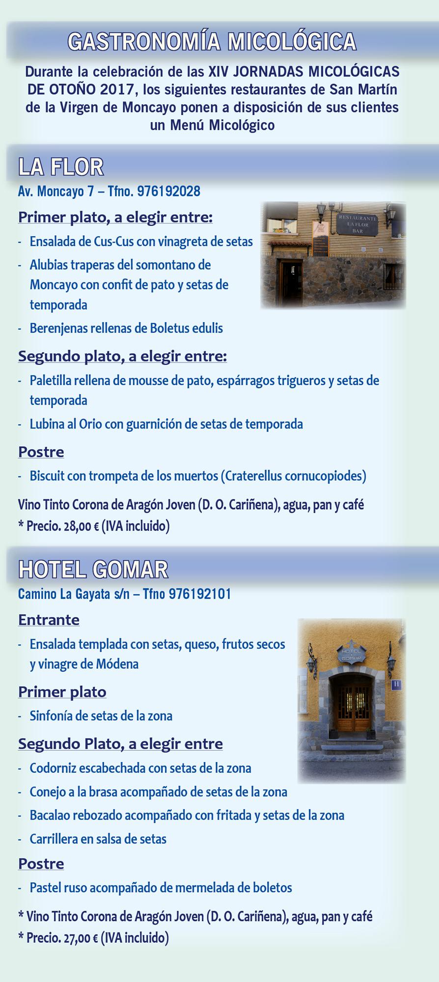 XIV Jornadas Micológicas Otoño 2017 #MicoMoncayo - San Martín de la Virgen de Moncayo - Menús Micologicos