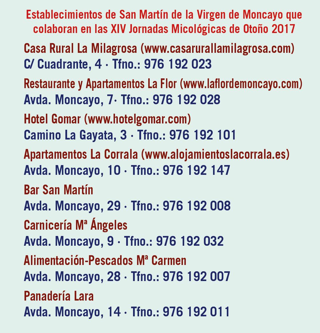 XIV Jornadas Micológicas Otoño 2017 #MicoMoncayo - San Martín de la Virgen de Moncayo - Establecimientos colaboradores