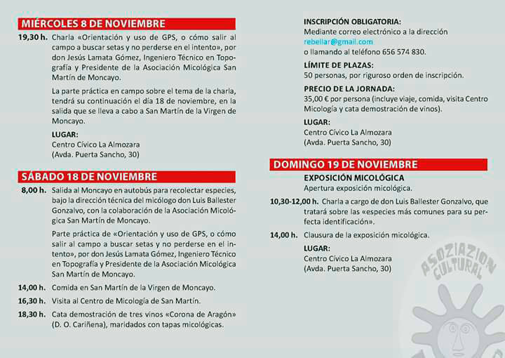 Programa Actividades XII Jornadas Micológicas Otoño 2017 L'Almozara