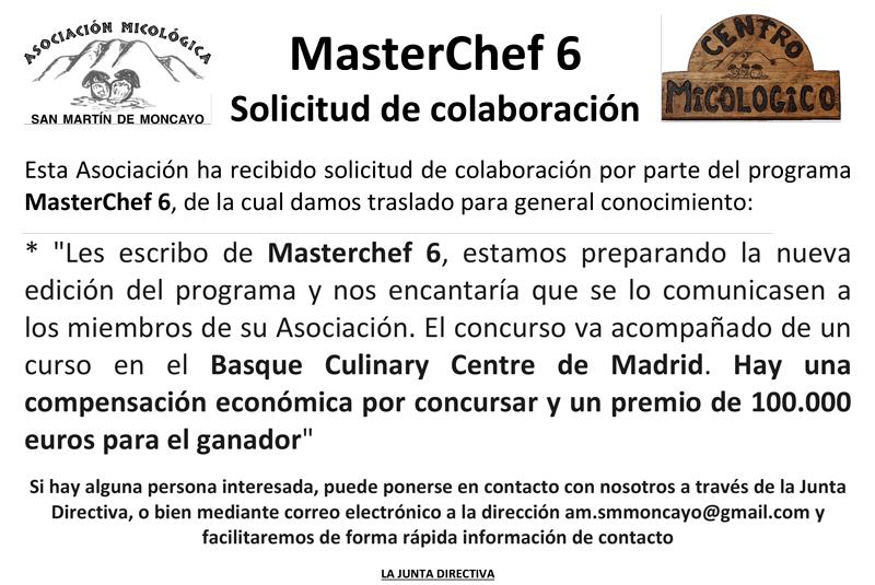 MasterChef 6 solicita colaboración a #MicoMoncayo - San Martín de la Virgen de #Moncayo
