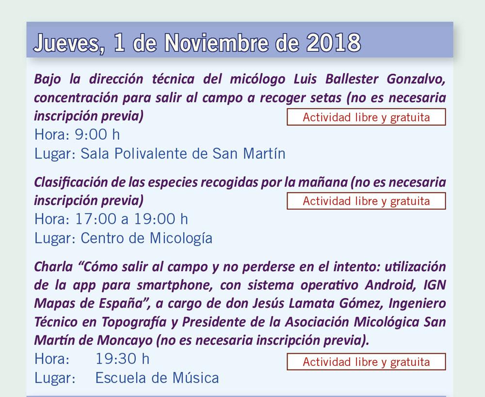 Actividades día 1 de noviembre XV Jornadas Micológicas Otoño 2018 #MicoMoncayo