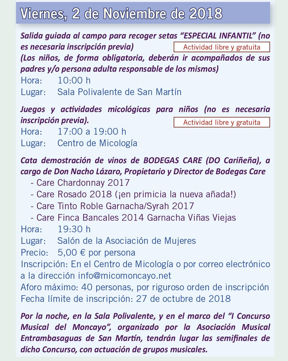 Actividades día 2 de noviembre XV Jornadas Micológicas Otoño 2018 #MicoMoncayo