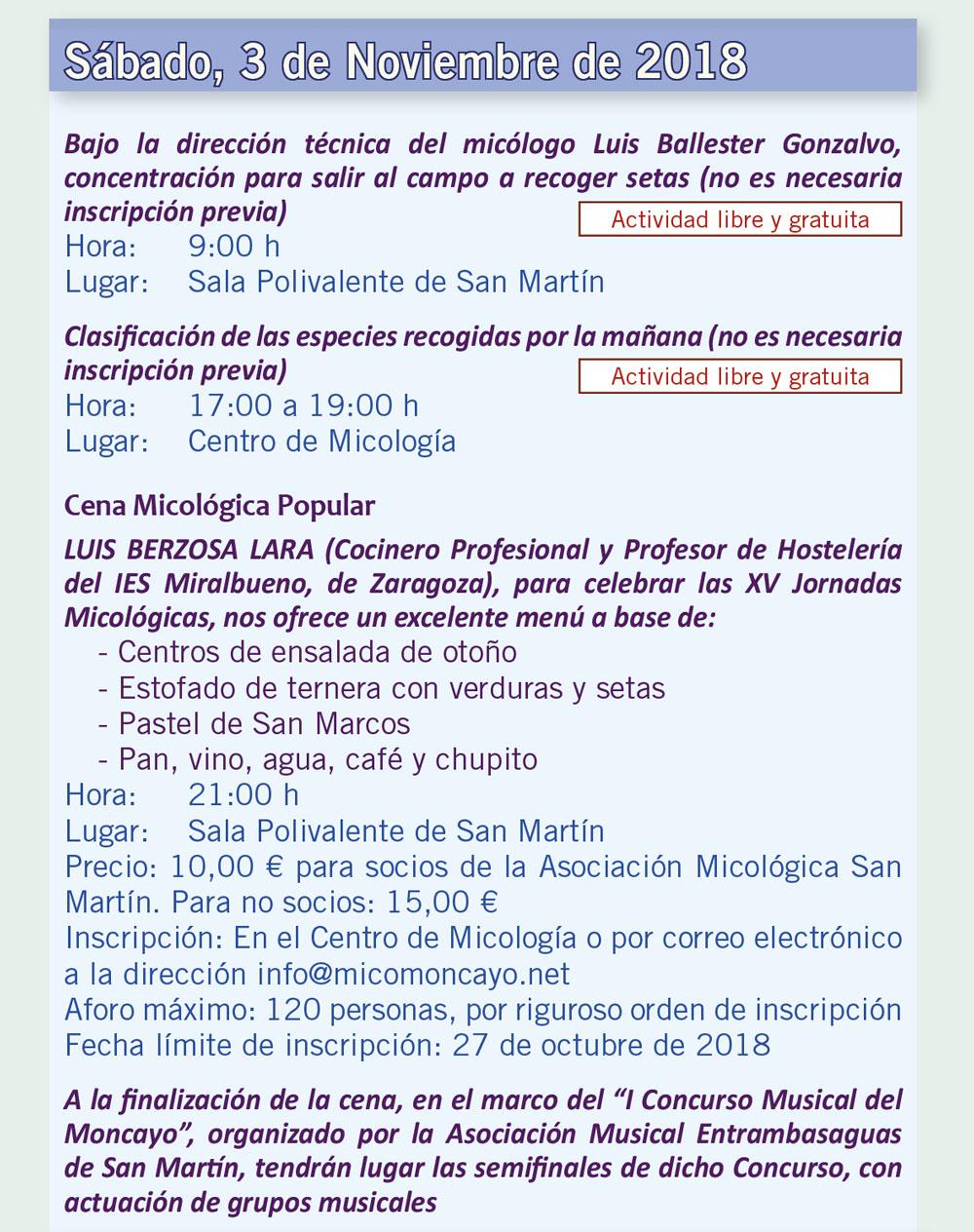 Actividades día 3 de noviembre XV Jornadas Micológicas Otoño 2018 #MicoMoncayo