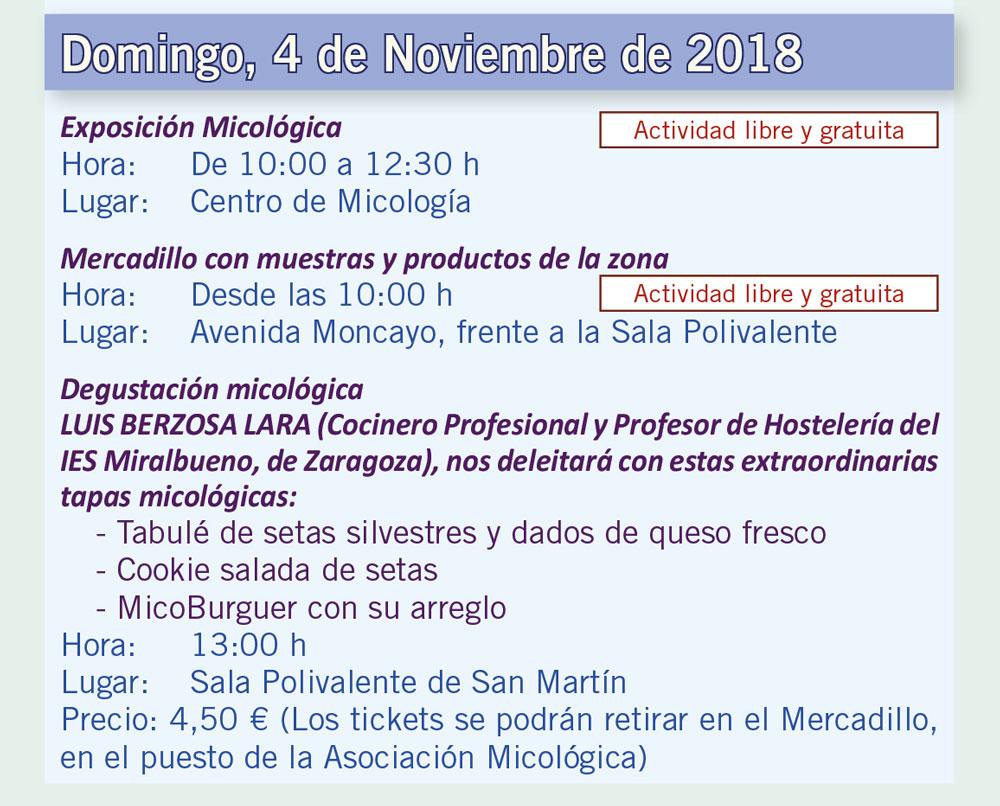Actividades día 4 de noviembre XV Jornadas Micológicas Otoño 2018 #MicoMoncayo