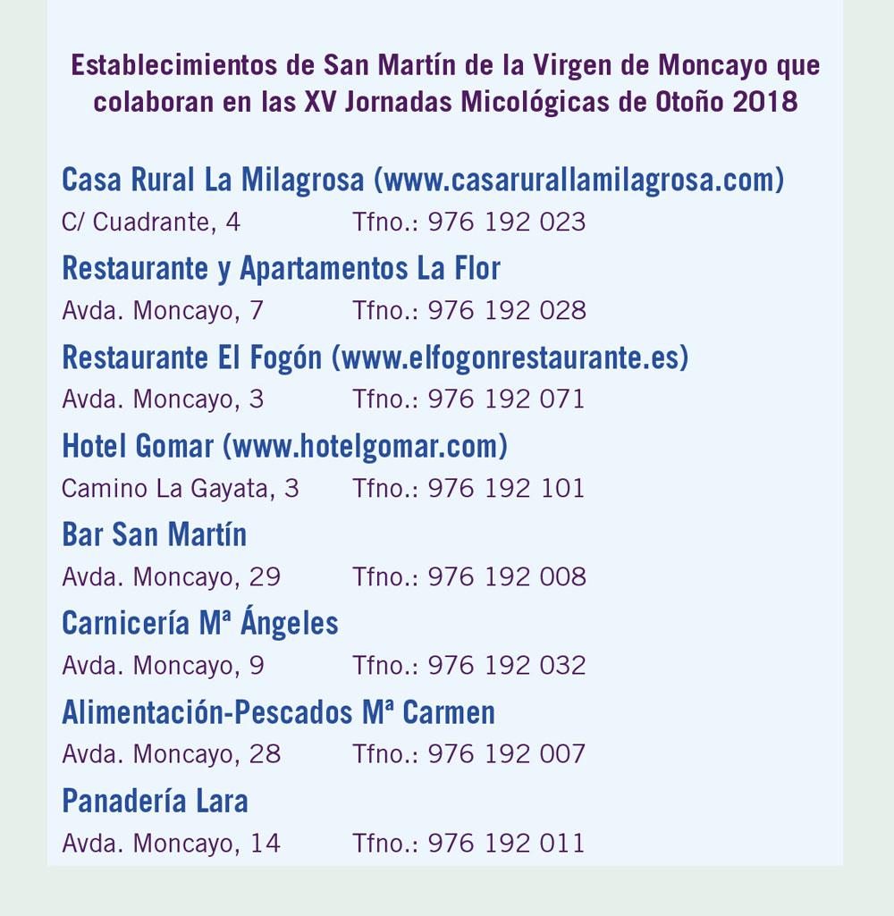 Establecimientos San Martín colaboradores en XV Jornadas Micológicas Otoño 2018 #MicoMoncayo