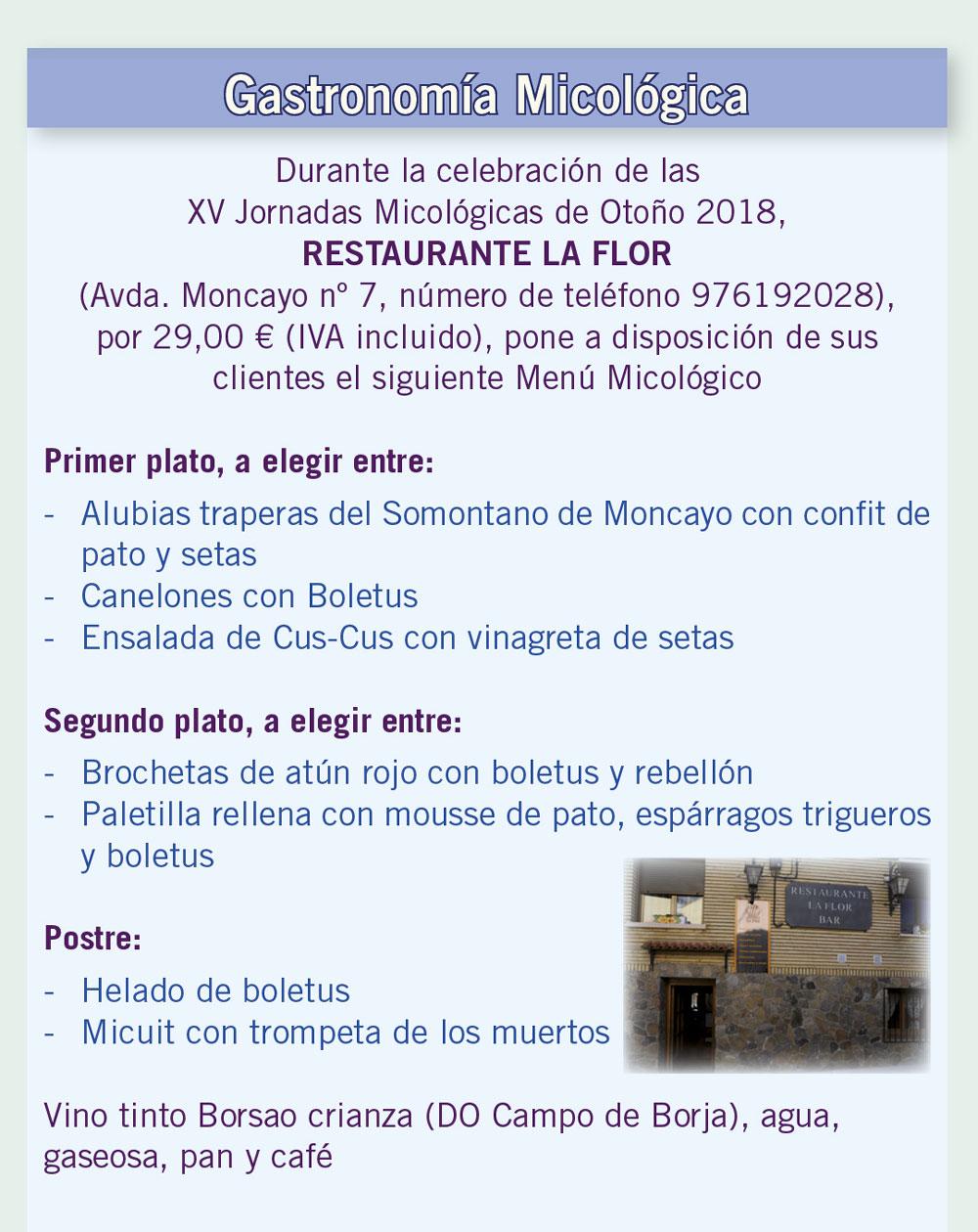Menú Micológico Rte La Flor - XV Jornadas Micológicas Otoño 2018 #MicoMoncayo