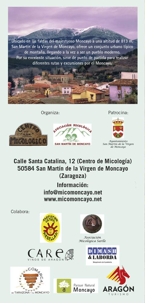 Contraportada Programa Actividades XV Jornadas Micológicas Otoño 2018 #MicoMoncayo