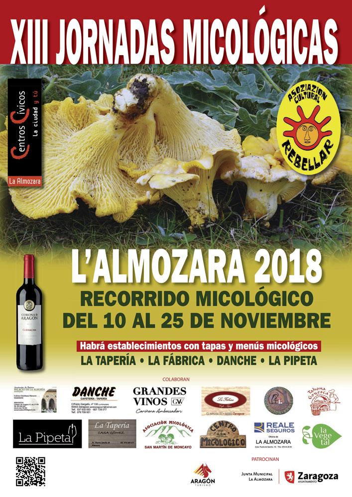 Cartel XIII Jornadas Micológicas de Otoño 2018 en La Almozara (Zaragoza) #MicoAlmozara