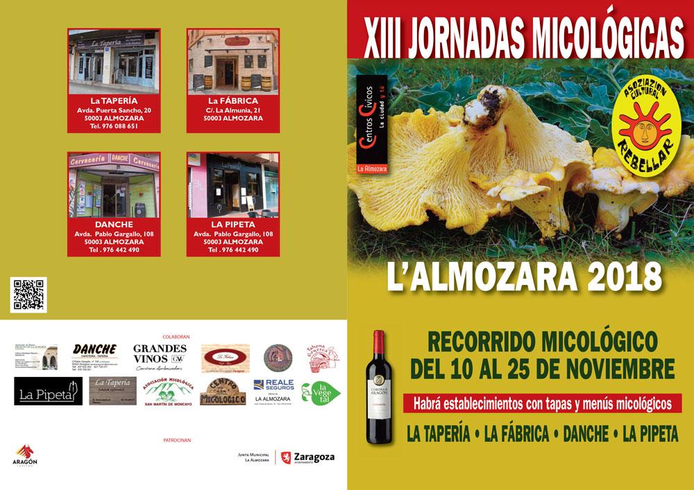Portada Actividades XIII Jornadas Micológicas de Otoño 2018 en La Almozara (Zaragoza) #MicoAlmozara