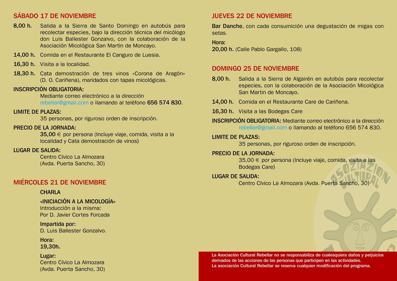 Programa Actividades XIII Jornadas Micológicas de Otoño 2018 en La Almozara (Zaragoza) #MicoAlmozara