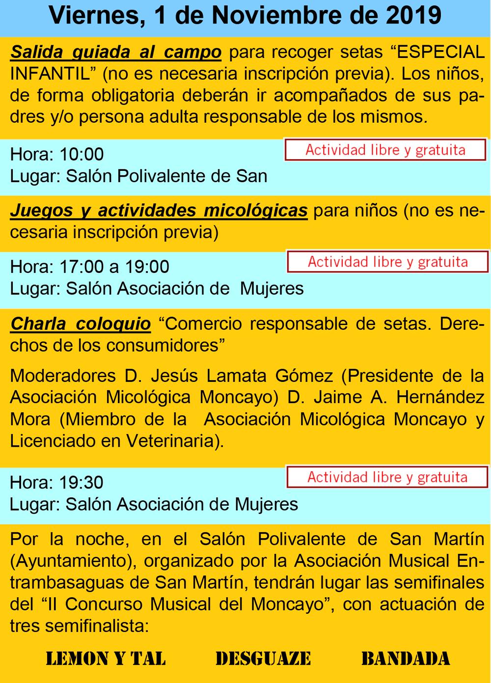 Actividades día 1 de noviembre XVI Jornadas Micológicas Otoño 2019 #MicoMoncayo