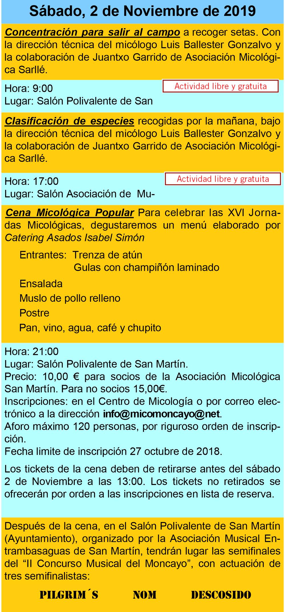 Actividades día 2 de noviembre XVI Jornadas Micológicas Otoño 2019 #MicoMoncayo