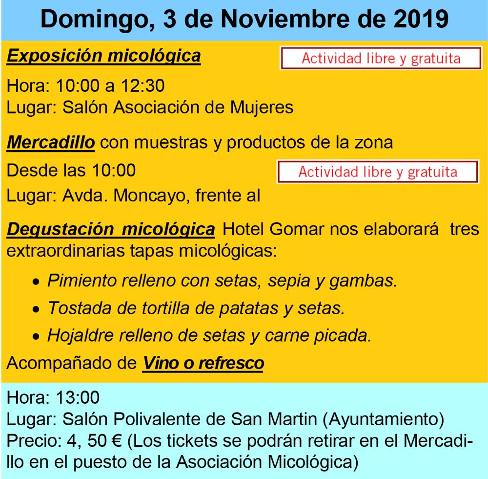 Actividades día 3 de noviembre XVI Jornadas Micológicas Otoño 2019 #MicoMoncayo