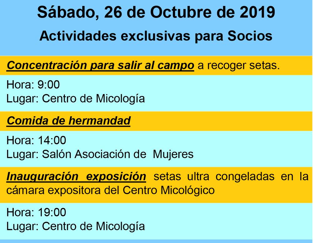 Actividades Exclusivas Soci@s día 26 de octubre Otoño 2019 #MicoMoncayo