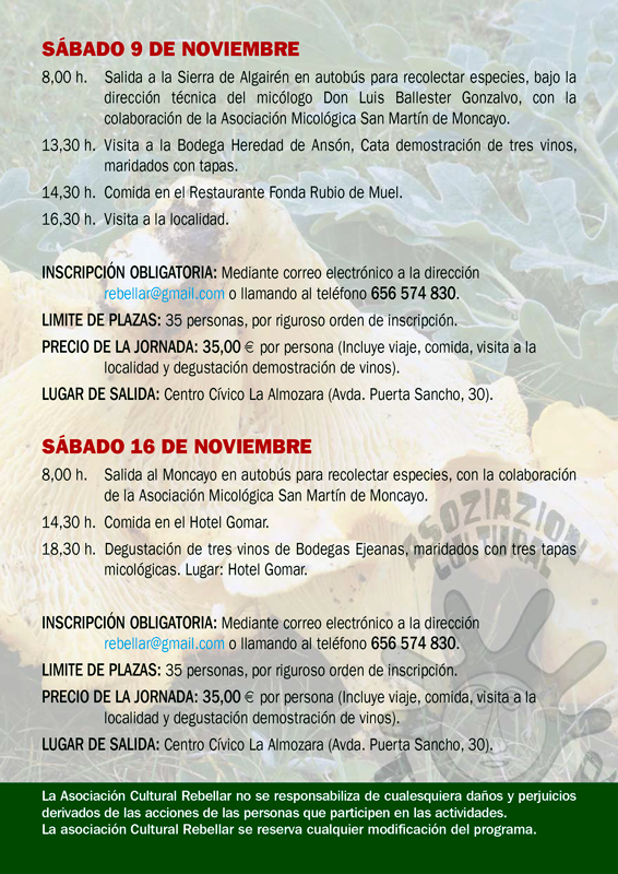 Programa XIV Jornadas Micológicas Otoño 2019 #MicoRebellar
