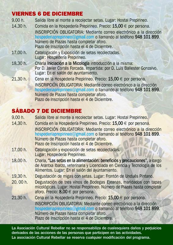Programa I Jornadas Micológicas Otoño 2019 en Undués-Pintano